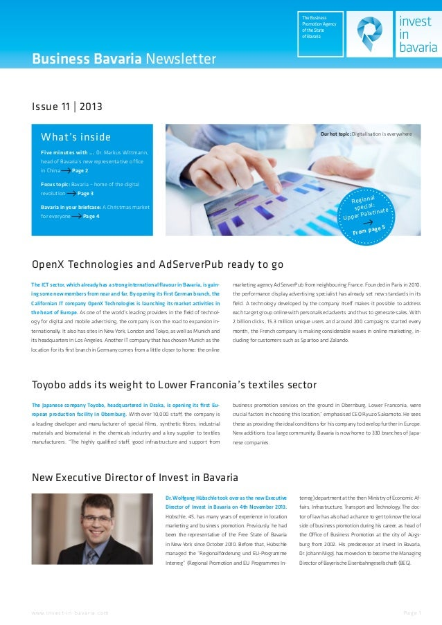 Business Bavaria Newsletter Issue 11 | 2013 What's inside  Our hot topic: Digitalisation is everywhere  Five minutes with ...