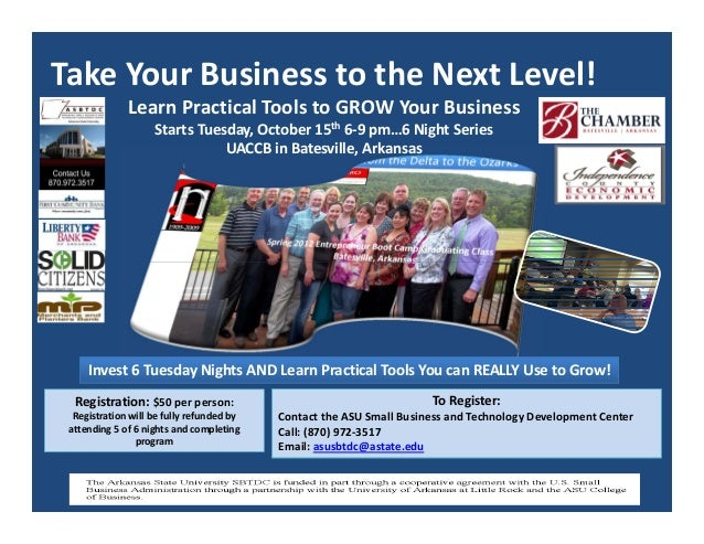 Take Your Business to the Next Level! Learn Practical Tools to GROW Your Business Starts Tuesday, October 15th 6‐9 pm…6 Ni...