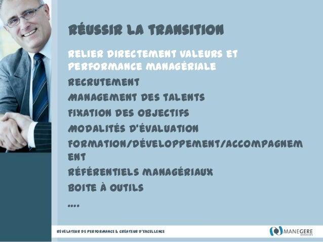 Réussir la transition Relier directement valeurs et performance managériale Recrutement Management des talents Fixation de...