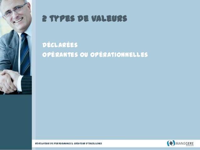 2 types de valeurs Déclarées Opérantes ou opérationnelles  RÉVÉLATEUR DE PERFORMANCE & CRÉATEUR D'EXCELLENCE