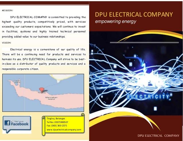 DPU ELECTRICAL COMPANY  empowering energy  DPU ELECTRICAL COMPANY  MISSION:  DPU ELECTRICAL COMAPNY is committed to provid...