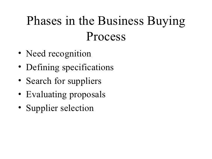 Phases in the Business Buying Process <ul><li>Need recognition </li></ul><ul><li>Defining specifications </li></ul><ul><li...