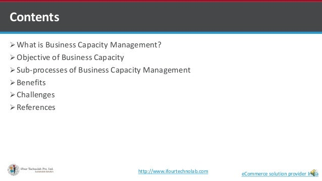  What is Business Capacity Management?  Objective of Business Capacity  Sub-processes of Business Capacity Management ...
