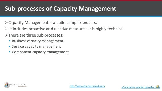  Capacity Management is a quite complex process.  It includes proactive and reactive measures. It is highly technical. ...