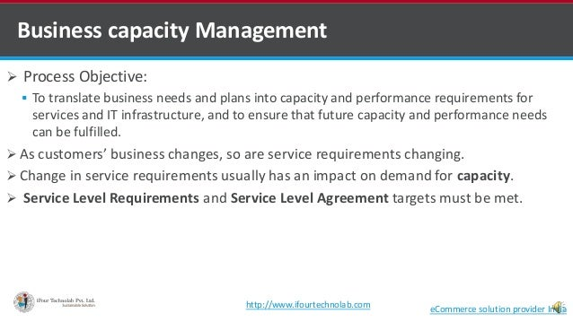 Business capacity Management  Process Objective:  To translate business needs and plans into capacity and performance re...