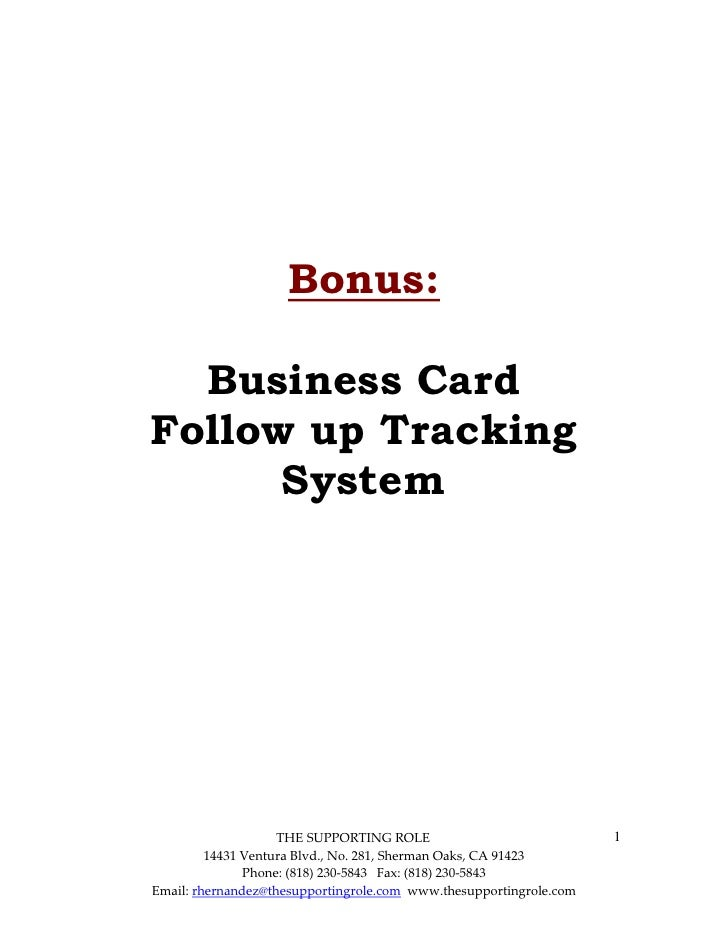 Business Card Follow Up Tracking System