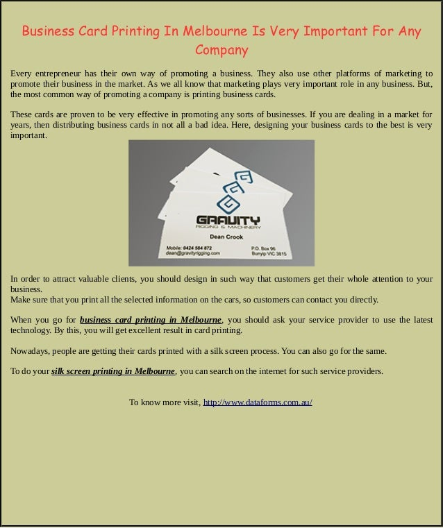 Business card printing in melbourne is very important for any company