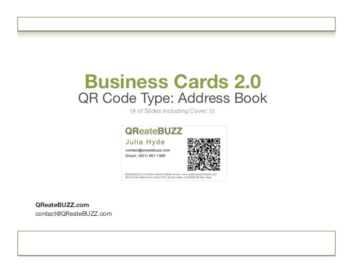 QR Code: Business Cards 2 0