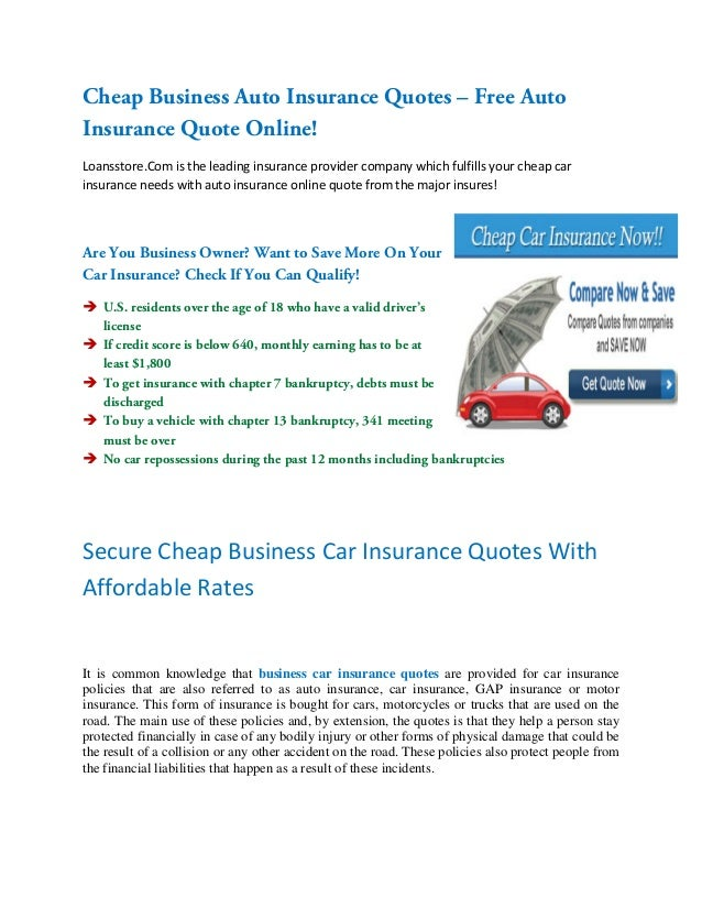 Business Car Insurance Quotes