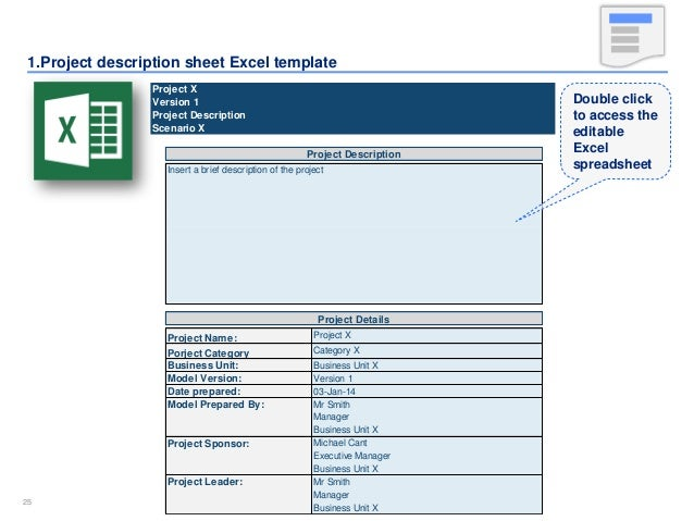 25 2525 1project description sheet excel template