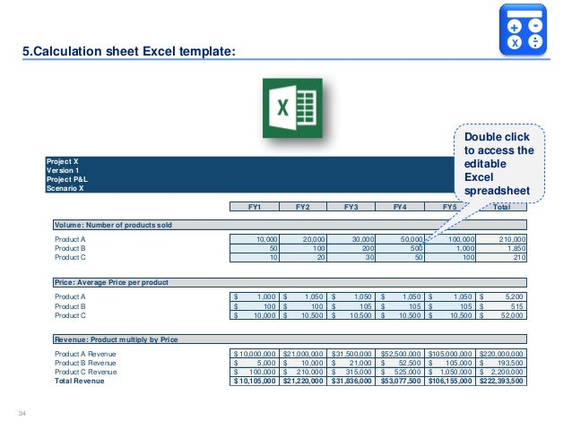 Simple business case template by ex mckinsey consultants 34 3434 5lculation sheet excel template accmission Gallery