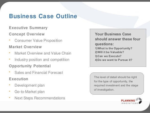 Business Case OutlineExecutive SummaryConcept ...  Business Case Template Word