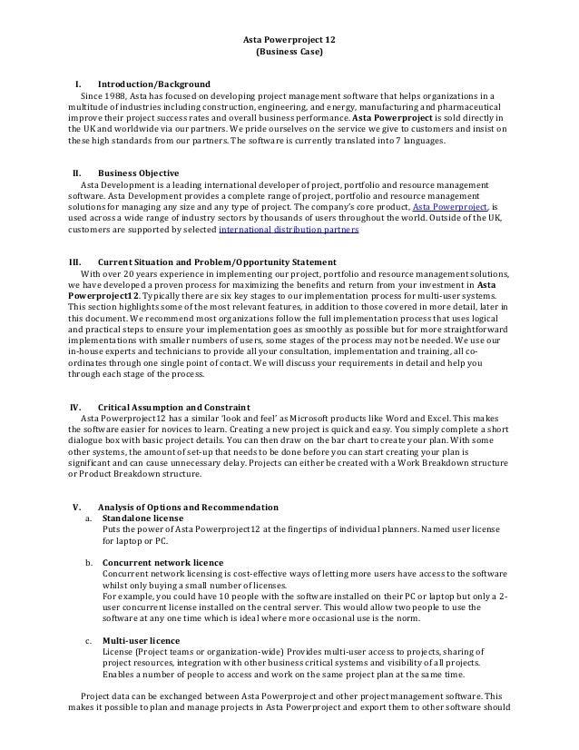 Project Management Business Case Asta Powerproject 12