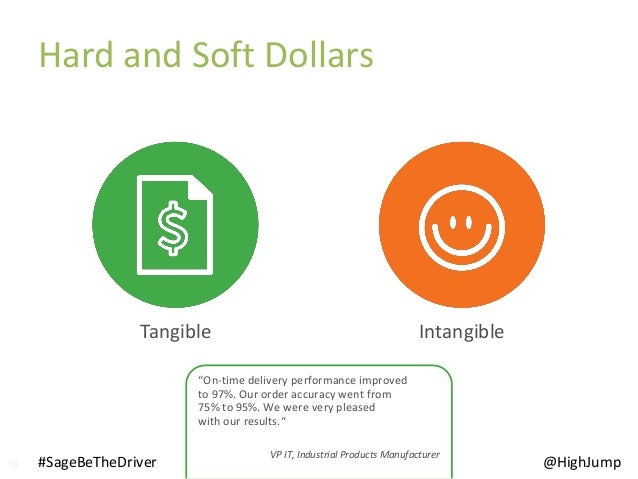 """18 Hard and Soft Dollars #SageBeTheDriver @HighJump IntangibleTangible """"On-time delivery performance improved to 97%. Our ..."""