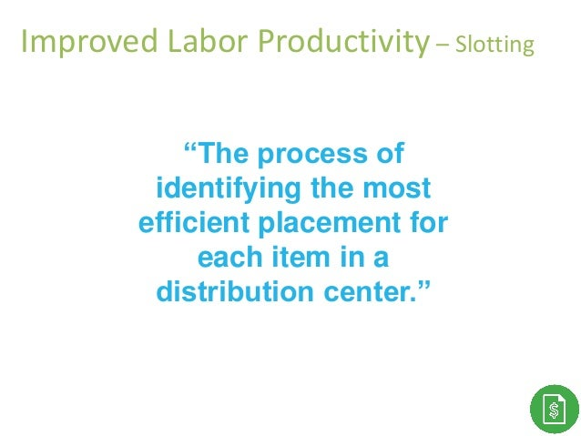 """""""The process of identifying the most efficient placement for each item in a distribution center."""" Improved Labor Productiv..."""