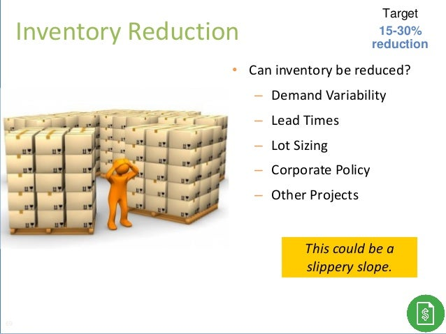 • Can inventory be reduced? ‒ Demand Variability ‒ Lead Times ‒ Lot Sizing ‒ Corporate Policy ‒ Other Projects This could ...