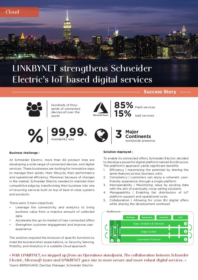 Cloud Success Story LINKBYNET strengthens Schneider Electric's IoT based digital services 85% 15% Solution deployed : To e...