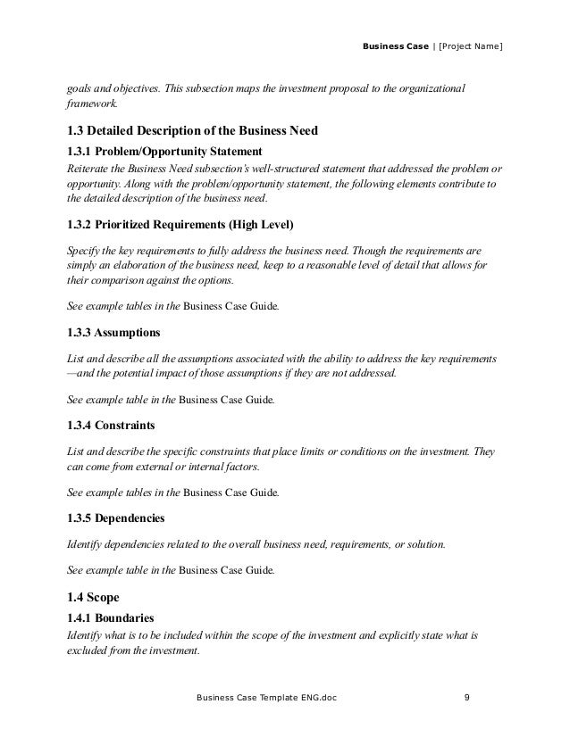 Business case template for project case template engc 9 business cheaphphosting Choice Image