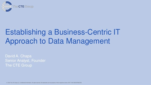 Establishing a Business-Centric IT Approach to Data Management David A. Chapa Senior Analyst, Founder The CTE Group