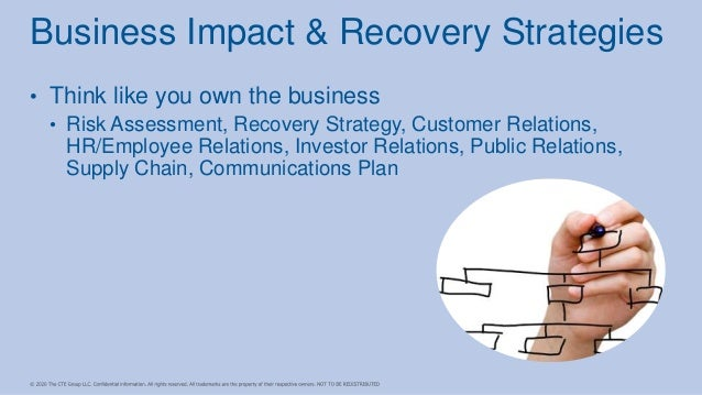 • Think like you own the business • Risk Assessment, Recovery Strategy, Customer Relations, HR/Employee Relations, Investo...