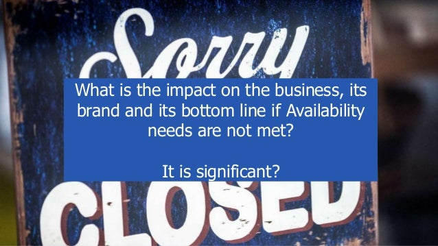 What is the impact on the business, its brand and its bottom line if Availability needs are not met? It is significant?