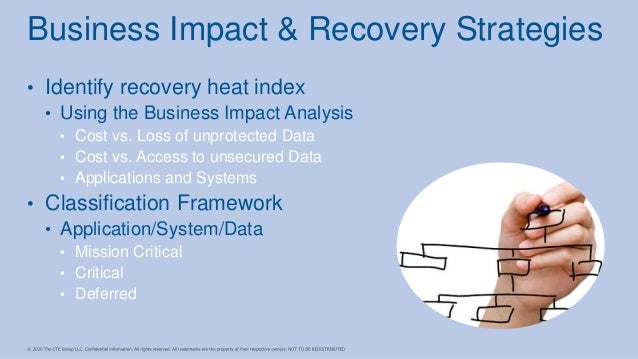 • Identify recovery heat index • Using the Business Impact Analysis • Cost vs. Loss of unprotected Data • Cost vs. Access ...