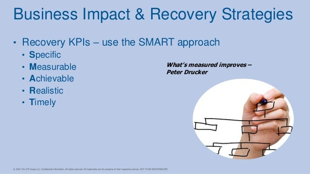 • Recovery KPIs – use the SMART approach • Specific • Measurable • Achievable • Realistic • Timely Business Impact & Recov...