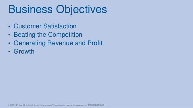 • Customer Satisfaction • Beating the Competition • Generating Revenue and Profit • Growth Business Objectives