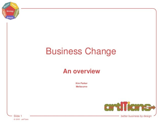© 2015 - artITians Slide 1 better business by design Business Change An overview Kim Parker Melbourne