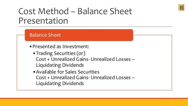 Liquidating dividends cost method to value