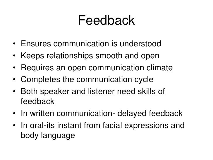 the value of feedback in ensuring effective communication