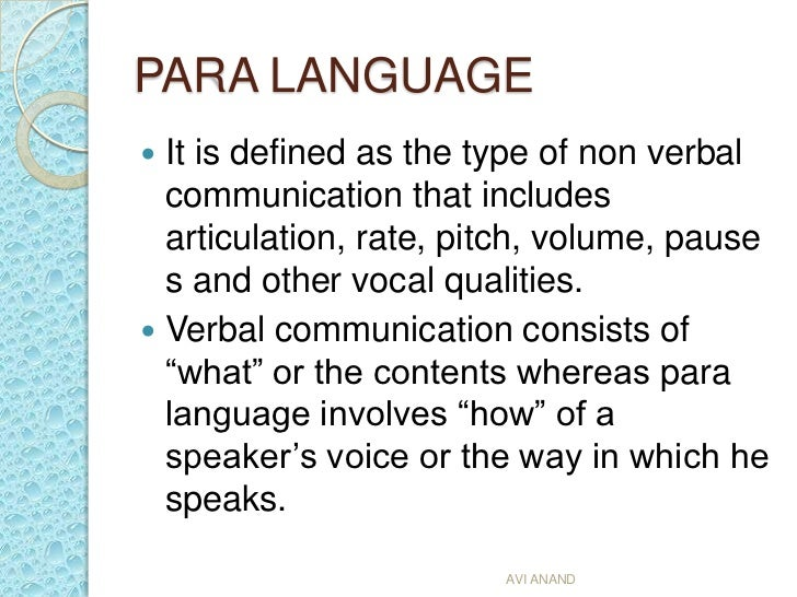 what is paralanguage in business communication