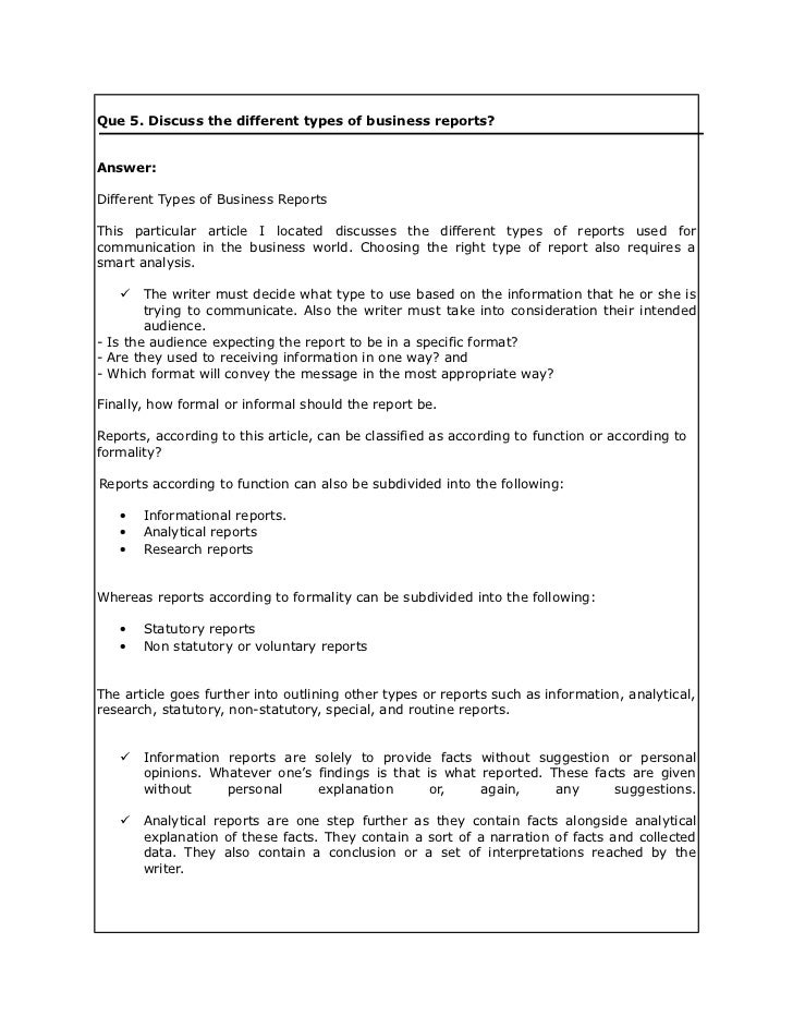 Business communication – Type of Business Report
