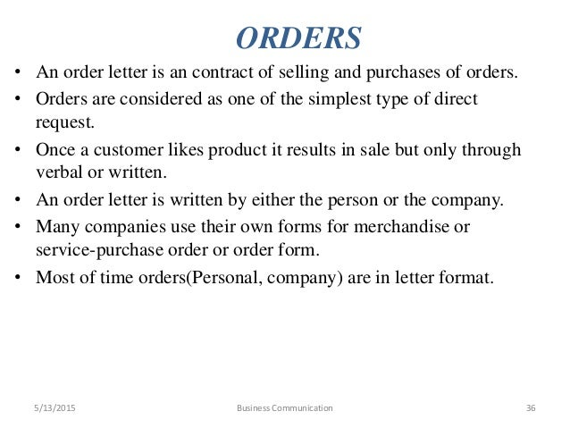 Business communication – Purchase Order Letter Format