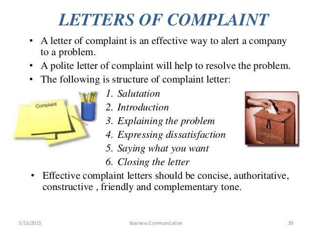 Business communication letters of complaint ccuart Gallery