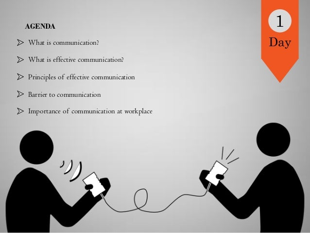 AGENDA What is communication? What is effective communication? Principles of effective communication Barrier to communicat...