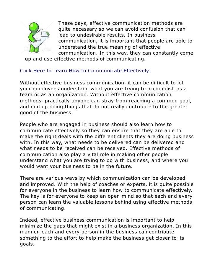 Business Communication - Effective Communication Methods
