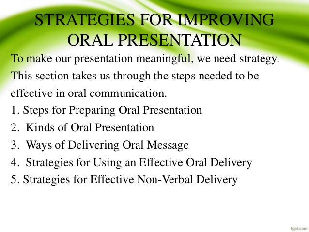 verbal presentation meaning