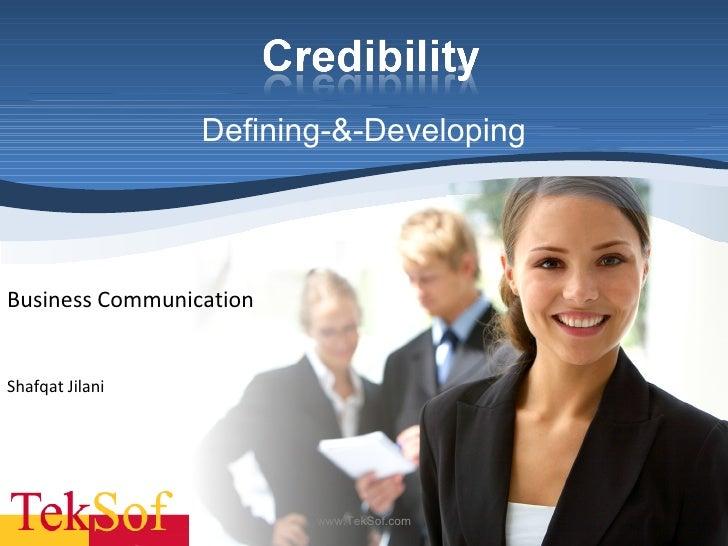 Defining-&-Developing Shafqat Jilani  Business Communication www.TekSof.com