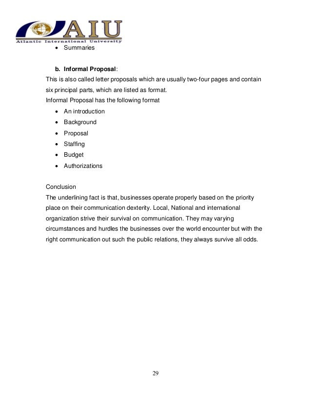 Business communication as a course – Informal Proposal Format