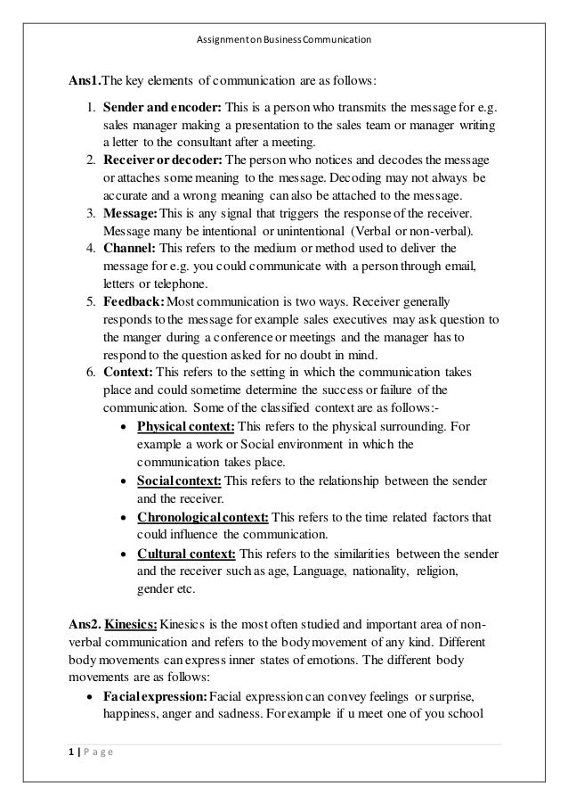business communication assignment 3