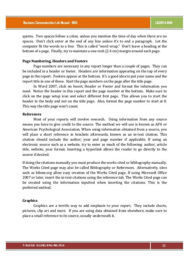 business communication lab manual for mba by raja rao pagidipalli rh slideshare net how to reference a lab manual in apa how to reference a lab manual apa