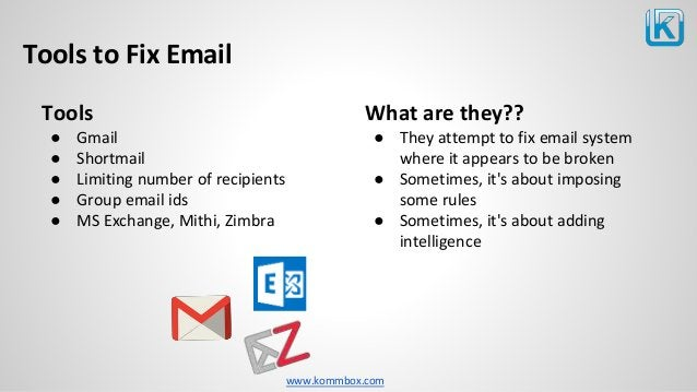 www.kommbox.com Tools to Fix Email Tools ● Gmail ● Shortmail ● Limiting number of recipients ● Group email ids ● MS Exchan...