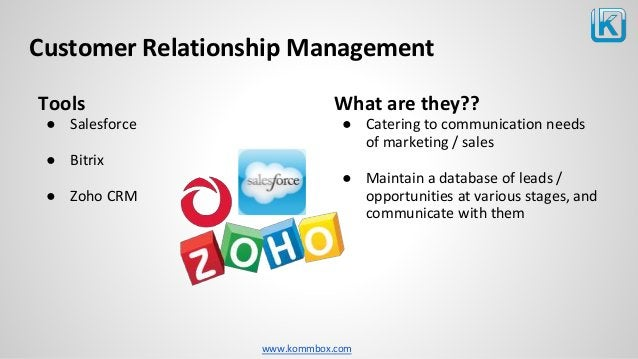 www.kommbox.com Customer Relationship Management Tools ● Salesforce ● Bitrix ● Zoho CRM What are they?? ● Catering to comm...