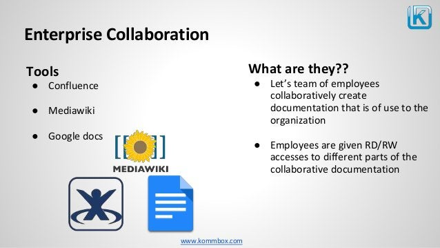 www.kommbox.com Enterprise Collaboration Tools ● Confluence ● Mediawiki ● Google docs What are they?? ● Let's team of empl...