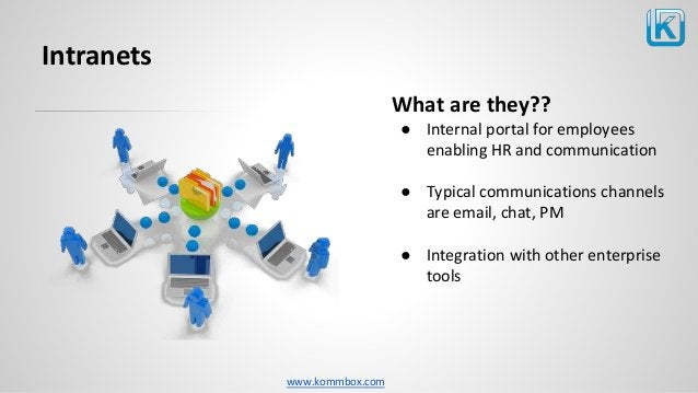 www.kommbox.com Intranets What are they?? ● Internal portal for employees enabling HR and communication ● Typical communic...
