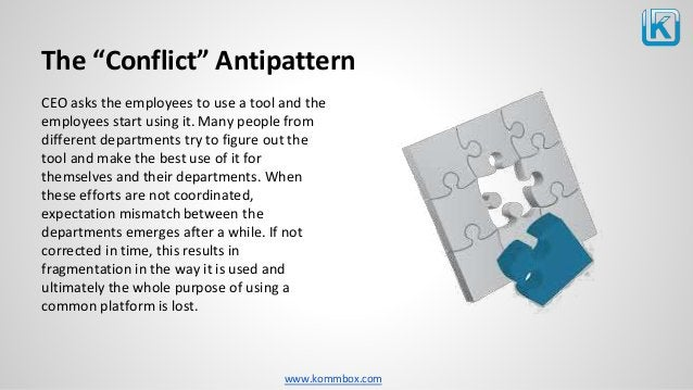 """www.kommbox.com The """"Conflict"""" Antipattern CEO asks the employees to use a tool and the employees start using it. Many peo..."""