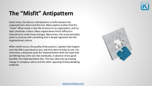 """www.kommbox.com The """"Misfit"""" Antipattern Some times, the failure is attributed to a misfit between the organizational cult..."""