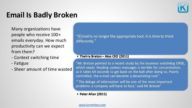 www.kommbox.com Email Is Badly Broken Many organizations have people who receive 100+ emails everyday. How much productivi...