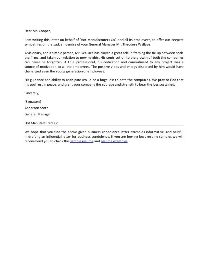 Business Condolence Letter – Formal Condolences Letter